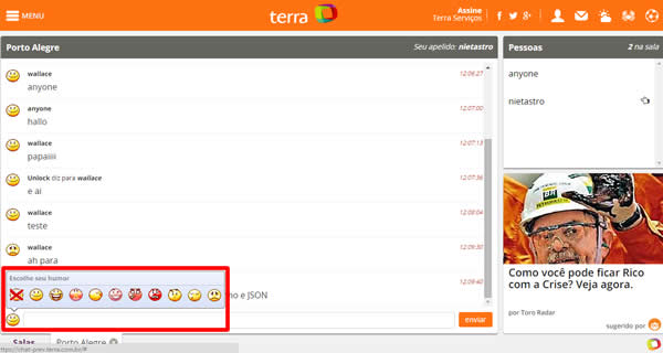 El chat de Terra. Un webchat multimedia y gratis